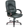 "Lorell Woodbridge Series Executive High-Back Chair - Black Seat - Black Back - Leather - 30"" Width x 26.5"" Depth x 46.3"" Height"