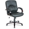 "Lorell Woodbridge Series Managerial Mid-Back Chair - Leather Black Seat - Leather - 26.5"" Width x 28.8"" Depth x 42.3"" Height"