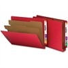 "Nature Saver End Tab Classification Folder - Letter - 8 1/2"" x 11"" Sheet Size - End Tab Location - 2 Divider(s) - 25 pt. Folder Thickness - Bright Red - Recycled - 10 / Box"