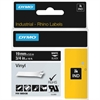 "Dymo White on Black Color Coded Label - Permanent Adhesive - ""0.47"" Width x 18 ft Length - Thermal Transfer - White - Vinyl - 1 Each"