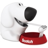 "Scotch Dog Desktop Tape Dispenser for 1"" Core Tapes - Holds Total 1 Tape(s) - 1"" Core - Refillable - White, Red"