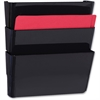 "Mountable Wall File Pockets - 14.5"" Height x 13.1"" Width x 4.3"" Depth - Wall Mountable - Black - 3 / Pack"