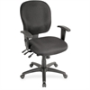 "Lorell Adjustable Waterfall Design Task Chair - Fabric Black Seat - Fabric Black Back - 5-star Base - Black - 20"" Seat Width x 19"" Seat Depth - 26"" Width x 25"" Depth x 42.5"" Height"