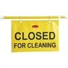 "Rubbermaid Commercial Closed For Cleaning Safety Sign - 6 / Carton - Closed for Cleaning Print/Message - 50"" Width x 13"" Height - Rectangular Shape - Durable, Grommet - Yellow"