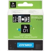"Dymo White on Black D1 Label Tape - 0.94"" Length - Direct Thermal - White - 1 Each"
