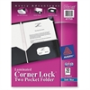 "Avery Corner Lock Two-Pocket Folder - Letter - 8 1/2"" x 11"" Sheet Size - 2 Internal Pocket(s) - Polypropylene - Blue - 10 / Pack"