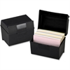 "Oxford Plastic Index Card Box With Lid - External Dimensions: 6"" Width x 4"" Height - 400 x Card - Flip Top Closure - Plastic - Black - For Card - 1 Each"