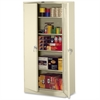 "Full-Height Deluxe Storage Cabinet - 36"" x 24"" x 78"" - 2 x Door(s) - Security Lock, Leveling Glide - Putty - Powder Coated - Metal - Recycled"