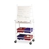 "Balt Easel Cart with Wheels - 4 Shelf - 4"" Caster Size - 29"" Width x 18.5"" Depth x 67"" Height - White"
