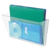 "Stackable Wall Pocket - 1 Compartment(s) - 7"" Height x 13"" Width x 4"" Depth - Wall Mountable - Clear - Plastic - 1Each"