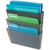 "Deflect-o Stackable DocuPocket Letter Wall Pockets - 3 Pocket(s) - 14"" Height x 13"" Width x 4"" Depth - Wall Mountable - Smoke - 3 / Set"