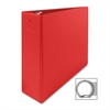 "Round Ring Binder - 3"" Binder Capacity - Letter - 8 1/2"" x 11"" Sheet Size - 3 x Round Ring Fastener(s) - 2 Inside Front & Back Pocket(s) - Vinyl - Red - 1 Each"