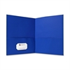 "Sparco Simulated Leather Double Pocket Folders - Letter - 8 1/2"" x 11"" Sheet Size - 125 Sheet Capacity - 2 Inside Front & Back Pocket(s) - Paper - Light Blue - Recycled - 25 / Box"