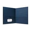 "Double Pocket Portfolio - Letter - 8 1/2"" x 11"" Sheet Size - 125 Sheet Capacity - 2 Inside Front & Back Pocket(s) - Paper - Dark Blue - Recycled - 25 / Box"