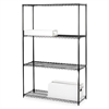 "Lorell Starter Shelving Unit - 48"" x 18"" x 72"" - 4 x Shelf(ves) - 4000 lb Load Capacity - Black - Powder Coated - Steel - Assembly Required"