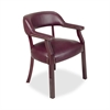 "Lorell Traditional Captain Side Chair - Vinyl Burgundy Seat - Hardwood Frame - Four-legged Base - Oxblood - Vinyl, Wood - 24"" Width x 25"" Depth x 30.8"" Height"