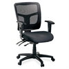 "Lorell 86000 Series Managerial Mid-Back Chair - Mesh Black, Fabric Seat - Mesh Back - Black Frame - 5-star Base - Black - 20"" Seat Width x 18.70"" Seat Depth - 25.3"" Width x 23.5"" Depth x 40.5"" Height"