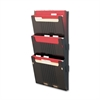 "Deflect-o Hanging Wall File Folder System - 3 Pocket(s) - 25"" Height x 12.6"" Width x 3.9"" Depth - Wall Mountable - Smoke - 3 / Set"
