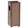 "Rubbermaid Commercial Sand Urn Litter Receptacles - 2.50 gal Capacity - 6"" Opening Diameter - 24"" Height x 10"" Width x 10"" Depth - Steel - Brown"