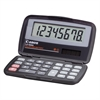 "LS555H Wallet Calculator - Hard Shell Cover, Auto Power Off - 8 Digits - LCD - Battery/Solar Powered - 4.3"" x 2.9"" x 0.6"" - Black - 1 Each"