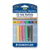 Staedtler Dye Ink Calligraphy Pen Refill - Yellow, Orange, Pink, Green, Blue, Brown Ink - 12 / Pack