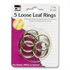 "Loose-leaf Ring - 1"" Diameter - Round - Silver - 5 / Pack"