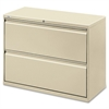"Lateral File - 36"" x 18.6"" x 28.1"" - 2 x Drawer(s) for File - Legal, Letter, A4 - Lateral - Rust Proof, Leveling Glide, Interlocking, Ball-bearing Suspension, Label Holder - Putty - Baked Ename"