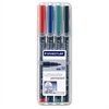Staedtler Lumocolor Permanent Universal Pen - Medium Point Type - 1 mm Point Size - Refillable - Red, Blue, Green, Black - Black Polypropylene Barrel