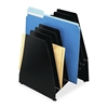 "Buddy Slant File Pockets - 8 Pocket(s) - 11.1"" Height x 8"" Width x 8"" Depth - Desktop - Black - Steel - 1Each"