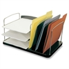 "Desk Tray - 6 Pocket(s) - 8.3"" Height x 16.3"" Width x 11"" Depth - Desktop - Black - Steel, Plastic - 1Each"