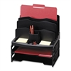 "Smart Solutions Organizer with Two Letter Tray - 9 Compartment(s) - 14"" Height x 13.1"" Width x 9.9"" Depth - Black - 1Each"