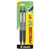 PRECISE V7 RT Rollerball Pen - Fine Point Type - 0.7 mm Point Size - Needle Point Style - Refillable - Black - Black Barrel - 1 / Pack