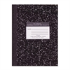 "Compostion Book - 80 Sheets - Plain - Sewn - 20 lb Basis Weight 7.88"" x 10.25"" - Black Cover Marble - 1Each"