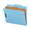"Nature Saver Colored Classification Folder - Letter - 8 1/2"" x 11"" Sheet Size - 2"" Fastener Capacity for Folder - Top Tab Location - 1 Divider(s) - 25 pt. Folder Thickness - Blue - Recycled - 10 / Box"
