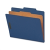 "Nature Saver 1-Dvdr Recycled Classificatn Folders - Letter - 8 1/2"" x 11"" Sheet Size - 2"" Fastener Capacity for Folder - Top Tab Location - 1 Divider(s) - 25 pt. Folder Thickness - Blue - Recycled - 1"