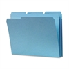 "Sparco Top Tab File Folder - Letter - 8 1/2"" x 11"" Sheet Size - 1/3 Tab Cut - Assorted Position Tab Location - 11 pt. Folder Thickness - Blue - Recycled - 100 / Box"