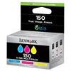 Lexmark 150 Standard Yield Return Program Ink Cartridge - Inkjet - 200 Pages Cyan, 200 Pages Magenta, 200 Pages Yellow - 3 / Pack