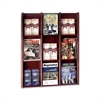 "Buddy Literature Rack - 9 Pocket(s) - 36"" Height x 30.8"" Width x 3"" Depth - Wall Mountable - Mahogany - Veneer, Wood - 1Each"