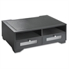 "Victor Midnight Black Printer Stand - 2 x Shelf(ves) - 7.8"" Height x 21.8"" Width x 15.3"" Depth - Desktop - Matte - Wood, Glass - Black"