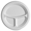 """Eco-Products 10 inch 3-Compartment Sugarcane Plate - 10"""" Diameter Plate - Sugarcane - Microwave Safe - White - 500 Piece(s) / Carton"""