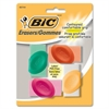 BIC Contoured Comfortable Grip Eraser - Latex-free, PVC-free - 4/Pack - Assorted