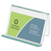 Lorell Acrylic Transparent Green Edge Business Card Holder - Acrylic - 1 Each - Green, Transparent