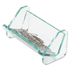 Lorell Acrylic Transparent Green Edge Paper Clip Holder - Acrylic - 1 Each - Green, Transparent