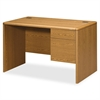 "HON Small Office Desk - 48"" x 30"" x 29.5"" - 2 x Box Drawer(s), File Drawer(s) - Single Pedestal on Right Side - Waterfall Edge - Material: Hardwood, Particleboard - Finish: Harvest, Laminate"