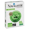 "Navigator Eco-logical Copy & Multipurpose Paper - Letter - 8.50"" x 11"" - 18 lb Basis Weight - 0% Recycled Content - 97 Brightness - 5000 / Carton - White"