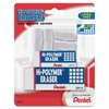 Pentel Hi-Polymer Non-Abrasive Latex-Free Erasers - Lead Pencil Eraser - Latex-free, Smudge-free, Tear Resistant, Ghost Resistant, Crack Resistant, Non-abrasive - Polymer - 6/Pack - White