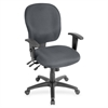 "Lorell Adjustable Waterfall Design Task Chair - Fabric Gray Seat - Fabric Gray Back - 5-star Base - Gray - 20"" Seat Width x 19"" Seat Depth - 25"" Width x 17"" Depth x 27"" Height"