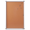 "Lorell Enclosed Cork Bulletin Board - 36"" Height x 24"" Width - Natural Cork Surface - Aluminum Frame - 1 Each"