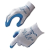 Showa Best Atlas Fit General Purpose Gloves - Medium Size - Natural Rubber - Blue, Gray - Comfortable, Lightweight, Knit Wrist, Durable, Debris Resistant - 24 / Box