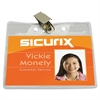 "SICURIX Horizontal Badge Holder with Clip - 2.5"" x 3.5"" - Vinyl - 50 / Pack - Clear"